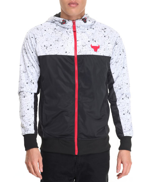 Nba, Mlb, Nfl Gear - Men Multi Chicago Bulls Whit Poly-Tricot Windbreaker Full Zip Hoody