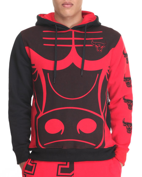 Nba, Mlb, Nfl Gear - Men Red Chicago Bulls Feelings Pullover Hoodie