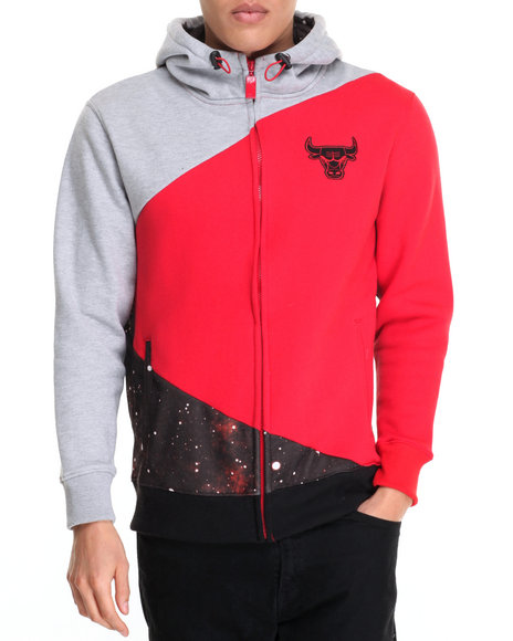 Nba, Mlb, Nfl Gear - Men Black,Red Chicago Bulls Space Invade Fleece Hoodie