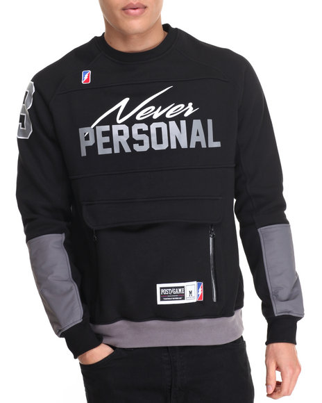 Post Game - Men Black Never Personal Crewneck Sweatshirt - $95.00