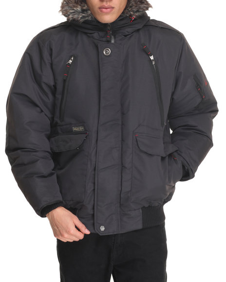 Basic Essentials - Men Charcoal Everest 80/20 Down Filled Snorkel Bomber