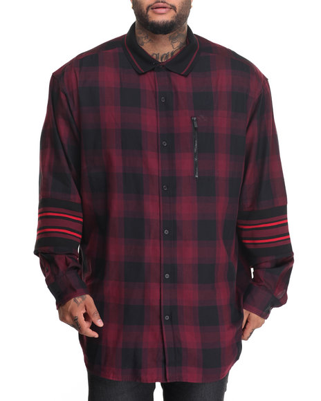 Sean John - Men Maroon Atheltic Buffalo Plaid Check L/S Button - Down (B&T)
