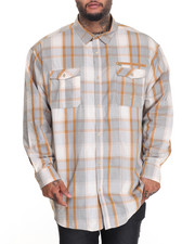 Men - MULTI TONAL CHECK L/S BUTTON - DOWN (B&T)