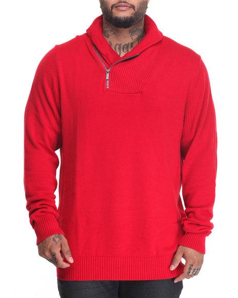 Sean John - Men Red S J Zipper Shawl Collar Sweater (B&T)