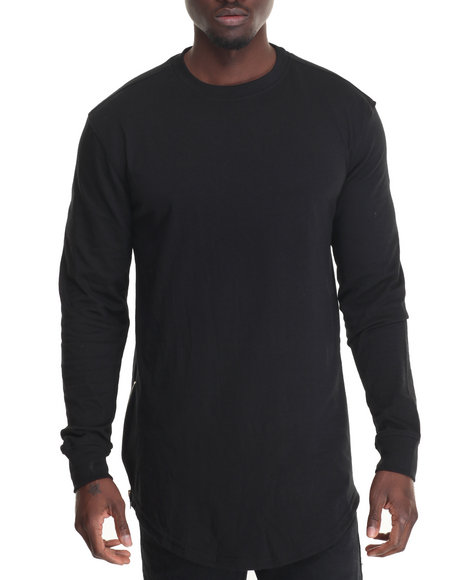 Buyers Picks - Men Black Tee W Side Zipper