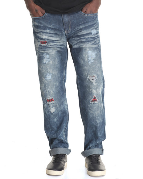 Buyers Picks - Men Vintage Wash Plaid Distaressed Jeans