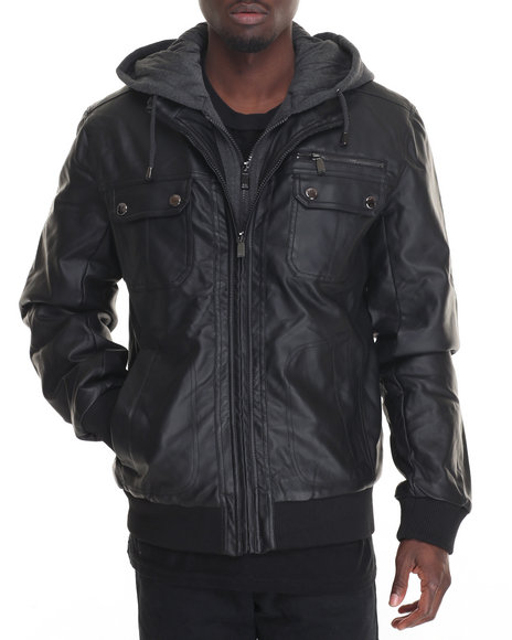 Steve Madden - Men Black Faux Leather Jacket W/ Attached Fleece Hoody