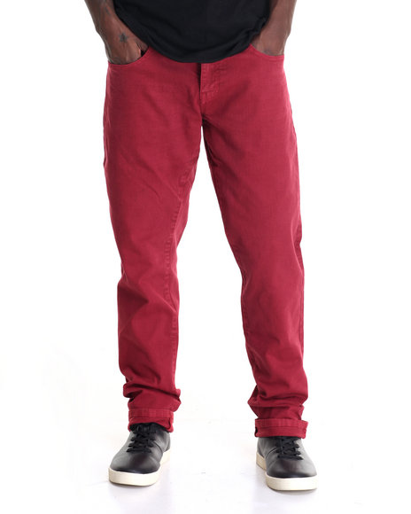 Akademiks - Men Red Rusit Slub Denim Jeans