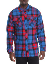 Men - Window pane Plaid Shirt w Side Zipper