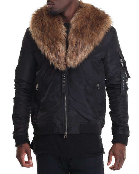 Vie + Riche - Men Black Two Piece M A 1  Faux Fur - Collar Jacket
