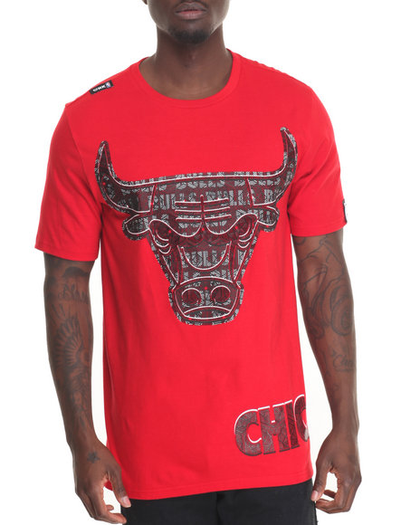 Nba, Mlb, Nfl Gear - Men Red Chicago Bulls Mosaic S/S Tee