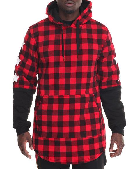 Buyers Picks - Men Red Buffalo Flannel 3/4 Sleeve Hoodie