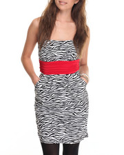 Print Dress - Zebra Print Strapless Dress