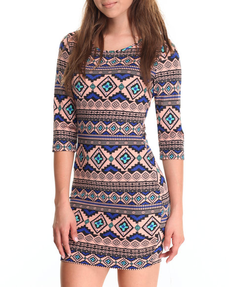 She's Cool Women Aztec Print Ponte 3/4 Sleeve Dress Coral Large
