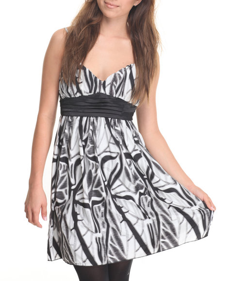 She's Cool Women Abstract Printed Dress Black Small