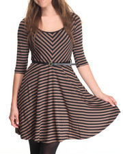 Women - Striped 3/4 Sleeve Belted Dress