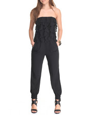 Women - Ruffled Front Tube Jumpsuit