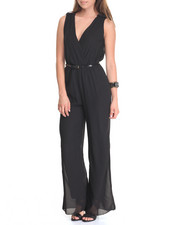 Women - Sleeveless Belted Jumpsuit