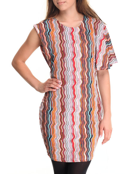 She's Cool Women Print Me Out Belted Dress Red Medium