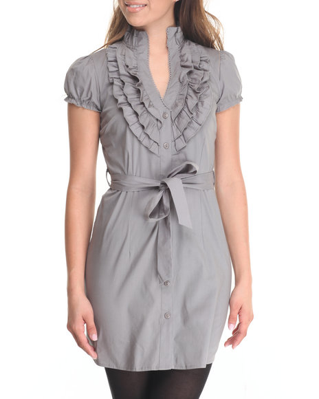 She's Cool - Women Grey Ruffled Neckline Belted Dress