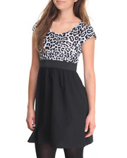 Women - Leopard Print 2-Fer Dress