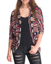 Fashion Tops - Aztec Print Hacci Duster