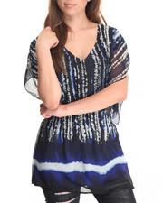 Fashion Tops - Oceanic Stripe Kimono Woven Tunic
