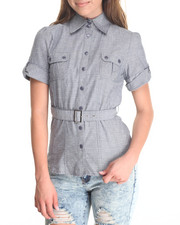Women - Belted Safari Cotton Shirt