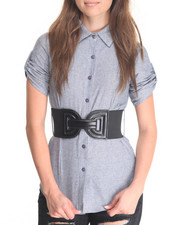 Tops - Belted Roll Sleeve Shirt
