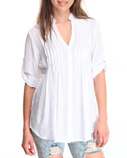 Tops - Pleated Front Roll Sleeve Woven Tunic Top