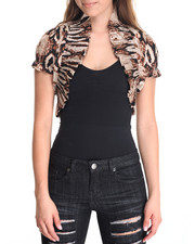 Short-Sleeve - Animal Print Smocked Shrug