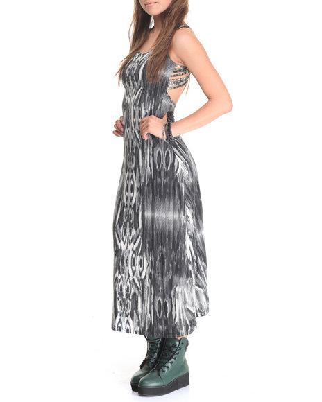 She's Cool Women Tribal Print Maxi Black Large