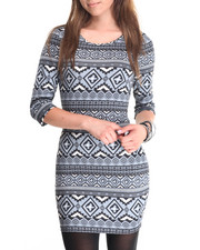 Women - Aztec Print Ponte 3/4 Sleeve Dress