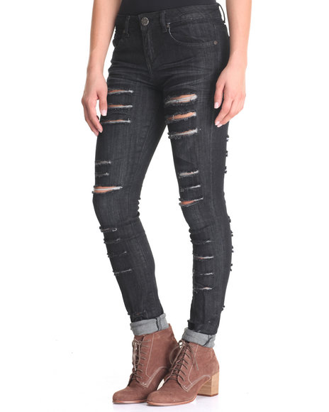 Basic Essentials - Women Black Boyfriend Rips Jean Pants