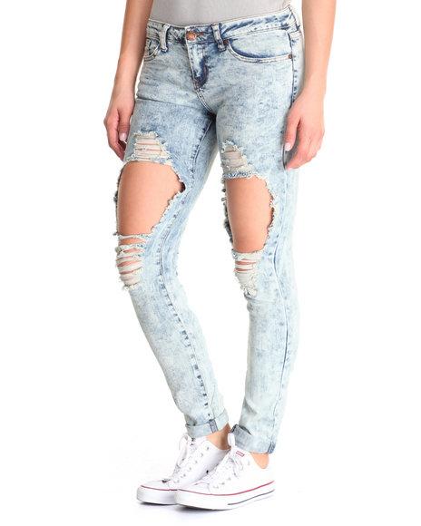 Basic Essentials - Women Blue Knees Boyfriend Jean
