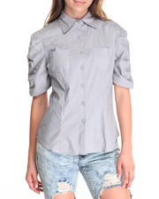 Tops - Rouched Sleeve Cotton Shirt