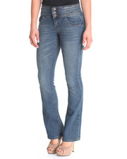Jeans - Button stacked Waist Skinny Flare Jean