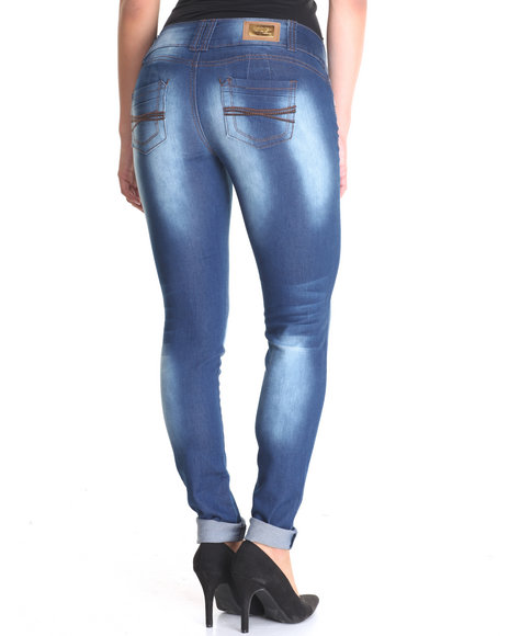Basic Essentials - Women Dark Blue Super Clean Skinny Butt Lift Jean