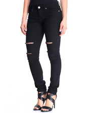 Basic Essentials - Knee Slit Skinny Jean