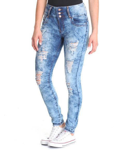 Basic Essentials - Women Blue Cloud Wash Skinny Jean - $30.99