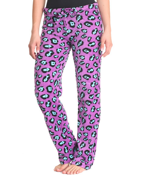 Drj Lingerie Shoppe - Women Purple Cheetah Print Plush Pants - $9.99