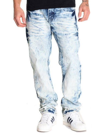 Monarchy - Men Light Wash Crinkle - Wash Denim Jeans