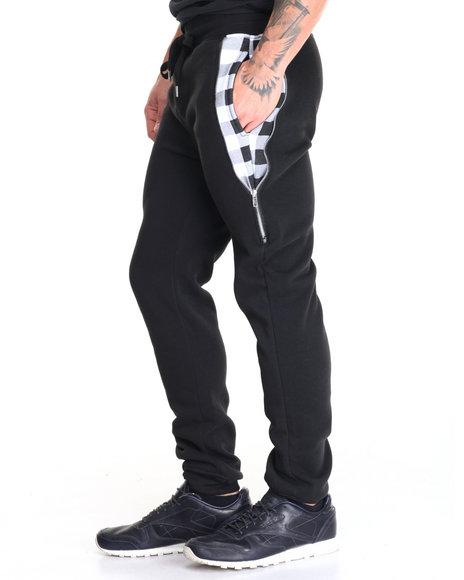 Buyers Picks Men Buffalo Plaid Pckt Sweatpants Black X-Large