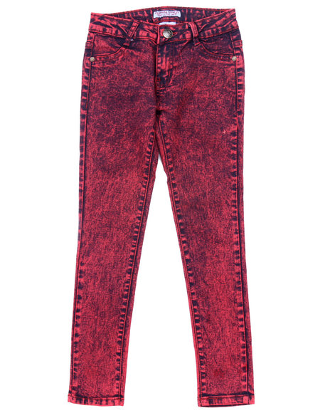 La Galleria - Girls Red High Waist Acid Wash Jeans (7-16)