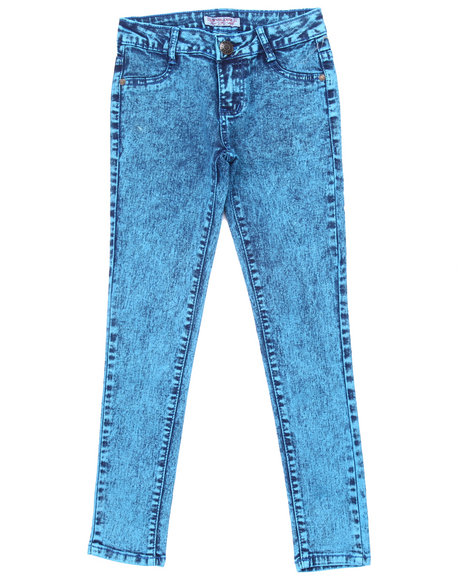 La Galleria - Girls Blue High Waist Acid Wash Jeans (7-16)
