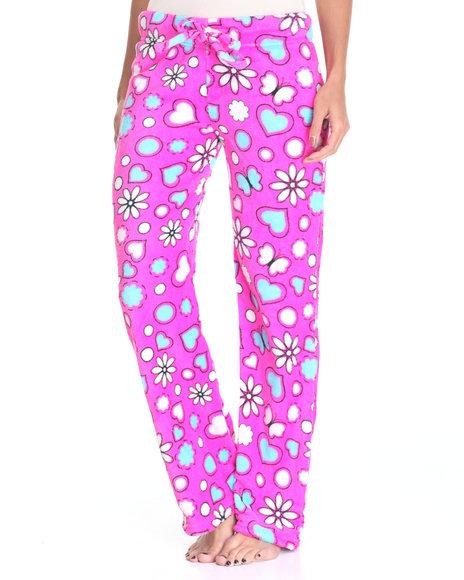 Drj Lingerie Shoppe - Women Dark Pink Ditsy Floral Heart Print Plush Pants