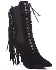 Fashion Lab - Lace Up Fringe Heel Boot