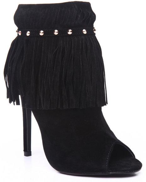 Fashion Lab - Women Black Stunning Fringe Open Toed Heel