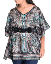 Fashion Tops - Paisley Print Kimono Top (Plus)