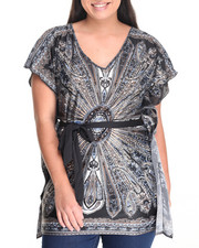 Fashion Tops - Galactic  Print Self-Belt Kimono Top (Plus)
